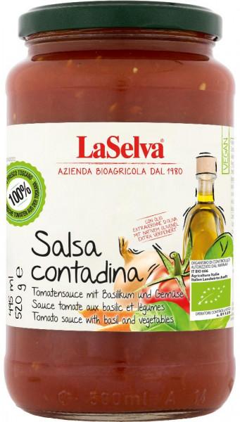 Salsa Contadina - Tomatensauce Basilikum, Gemüse und Olivenöl - 520g