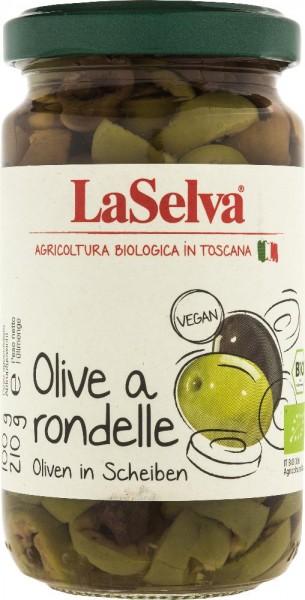Oliven a rondelle - grüne und dunkle Oliven in Scheiben - 210g