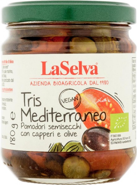 Tris mediterraneo -Halbgetrocknete Tomaten mit Kapern und Oliven in Öl - 180g